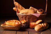 Arrangement of bread in basket.