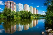 Beautiful colorful nature in among the tall buildings