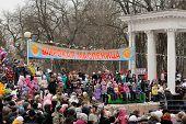 Orel, Russia, Maslenitsa Festival - 22 February, 2015: People Waiting For Burning Lady Maslenitsa, D