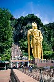 Murugan statue in front the entrance of holy Batu Caves
