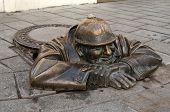 Bronze Sculpture Called Man At Work, Bratislava, Slovakia