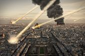 image of meteorite  - Meteorite shower destroying the city and buildings - JPG