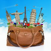 Illustration Of A Travel Bag Full Of Famous Monument