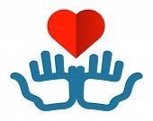 hands and heart vector logo design template. health or charity icon.