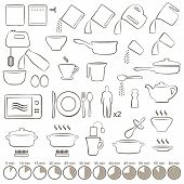 foto of food preparation tools equipment  - vector set icons cooking manual instructions - JPG