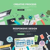 Flat design illustration concepts for graphic and web design development