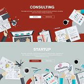 image of web template  - Set of flat design illustration concepts for business - JPG