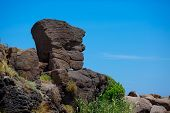 Natural stone statue in Castelsardo port, Sardinia
