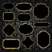 Gold Vintage Frames on Damask Background