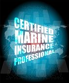 Management Concept: Certified Marine Insurance Professional Words On Digital Screen