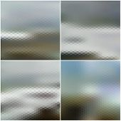 Vector blurred hexagonal backgrounds set with sea landscape