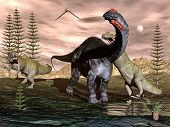 Allosaurus attacking apatosaurus dinosaur - 3D render