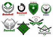 Creative baseball sports emblems and symbols