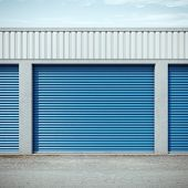 foto of self-storage  - storage units with blue doors - JPG