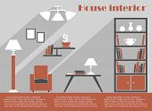 House interior design infographic template