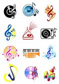 stock photo of clefs  - Colorful musical icons with music notes - JPG