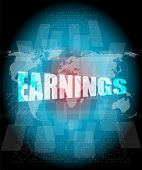 Earnings Words On Touch Screen Interface