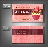 Romantic business card - front, back with cupcake