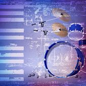 picture of drum-kit  - abstract blue grunge background with drum kit - JPG