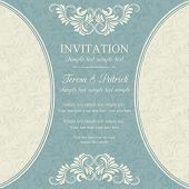 Baroque invitation, blue and beige