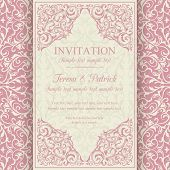 Baroque invitation, pink and beige