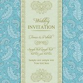 Wedding invitation in blue and beige style