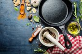 picture of pepper  - Ingredients for cooking and empty cast iron skillet - JPG