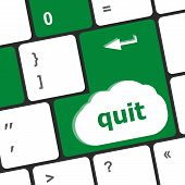 Quit Button On Black Internet Computer Keyboard