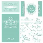 Set Of Wedding Invitation Cards With Floral Elements, Calligraphic Handwritten Text, Background In B