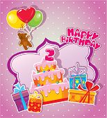 stock photo of teddy  - Baby birthday card with teddy bear big cake and gift boxes - JPG