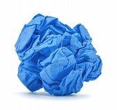 Dark Blue Ball Crumpled Paper On A White Background