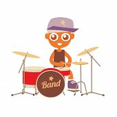 picture of drum-set  - hip hop drummer playing on a drums set - JPG
