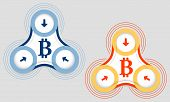 picture of bit coin  - Two vector objects and bit coin symbol - JPG