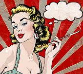picture of bubbles  - Pop Art illustration of woman with the speech bubble and cigarette - JPG