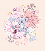 picture of bird-dog  - Stylish floral background with cartoon dog and  bird in light colors - JPG