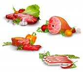 picture of pork  - Meat pork and beef steaks with vegetables food set isolated vector illustration - JPG