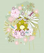 stock photo of baby frog  - Stylish floral background with cartoon frog in light colors - JPG