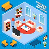 Isometric Living Room Interior
