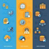 Big data vertical banners set