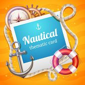 image of roping  - Nautical card with marine and sailing symbols set and rope frame vector illustration - JPG