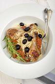 Mediterranean Chicken Drumsticks On Spaghetti