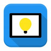 Desk With Lamp Idea App Icon With Long Shadow