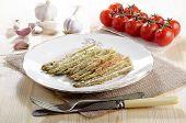 Baked Breen Asparagus On A Plate