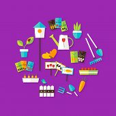 Gardening Spring Icon Set Over Purple