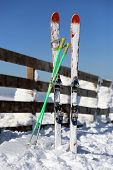 Skis in Kopaonik in winter,  Serbia.