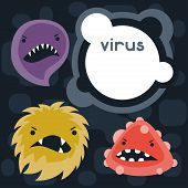 Background with little angry viruses and monsters.