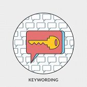 Flat Design Concept For Keywording. Vector Illustration For Web Banners And Promotional Materials