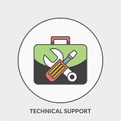 Flat Design Concept For Technical Support. Vector Illustration For Web Banners And Promotional Mater