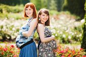 Two beautiful young smiling pregnant women. outdoor. against the background of flowers