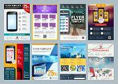 Set Of Abstract Vector Business Flyer Brochure Design Template